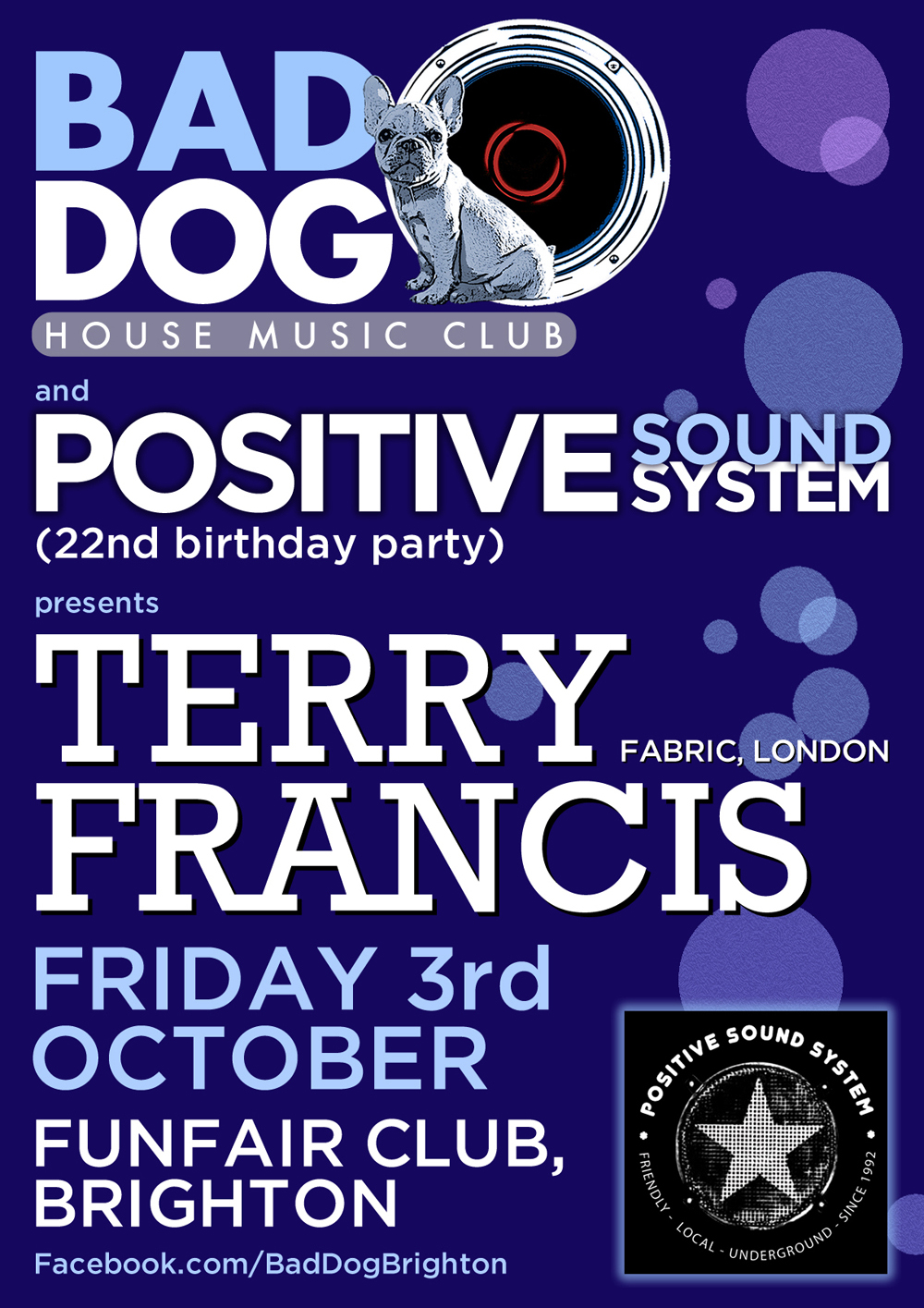 Bad Dog & Positive Sound System flyer - designed by Hook Web & Print