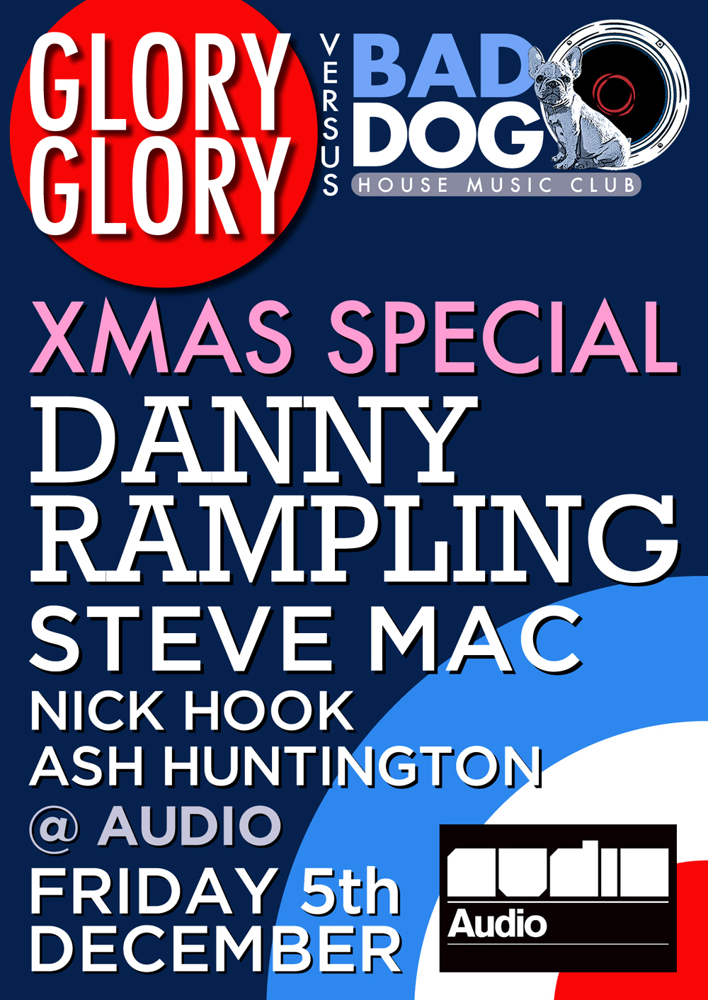 Glory Glory Vs Bad Dog Xmas flyer designed by Hook Web & Print