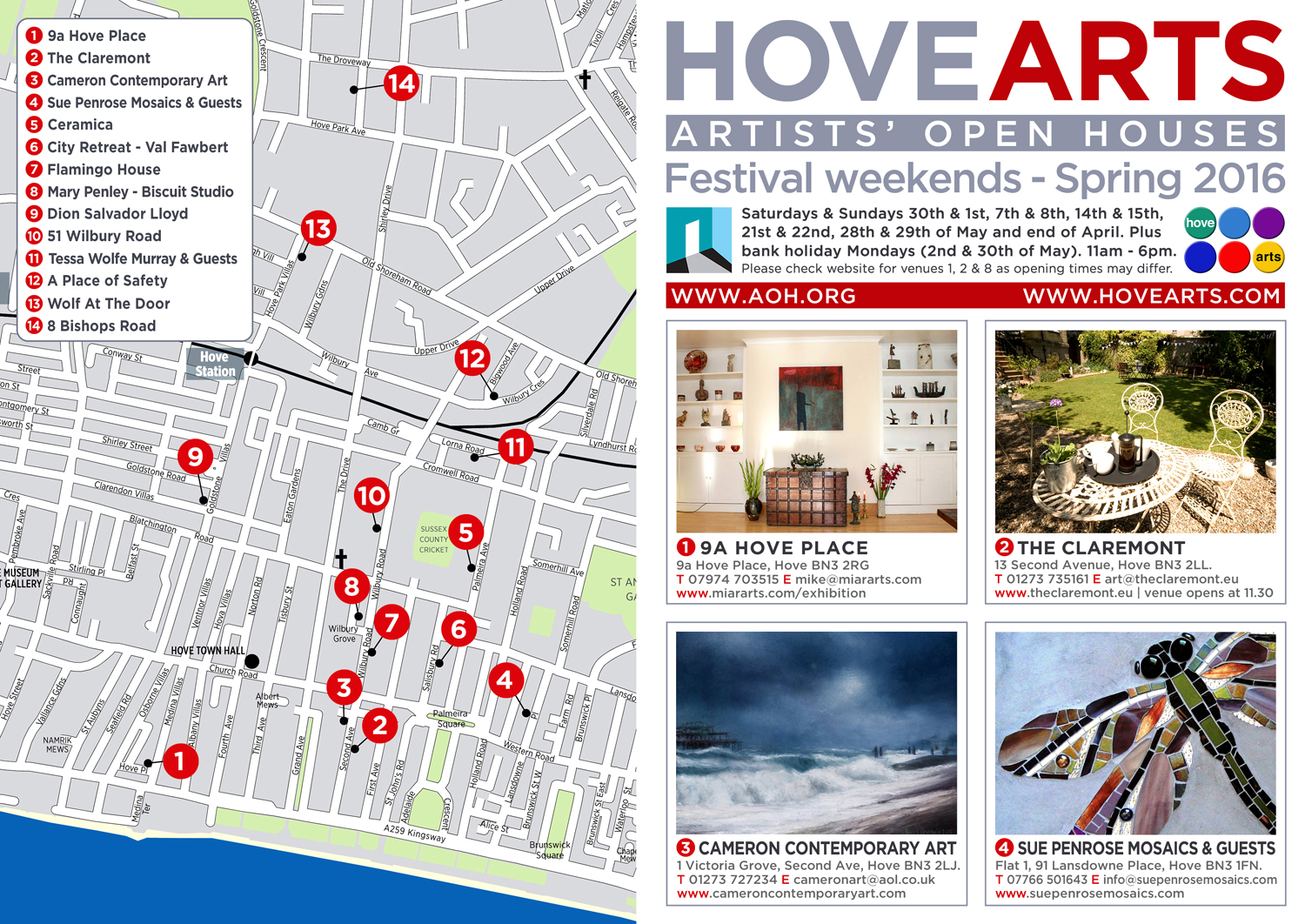 Hove Arts Leaflet 2016 - outside - designed by Hook Web & Print