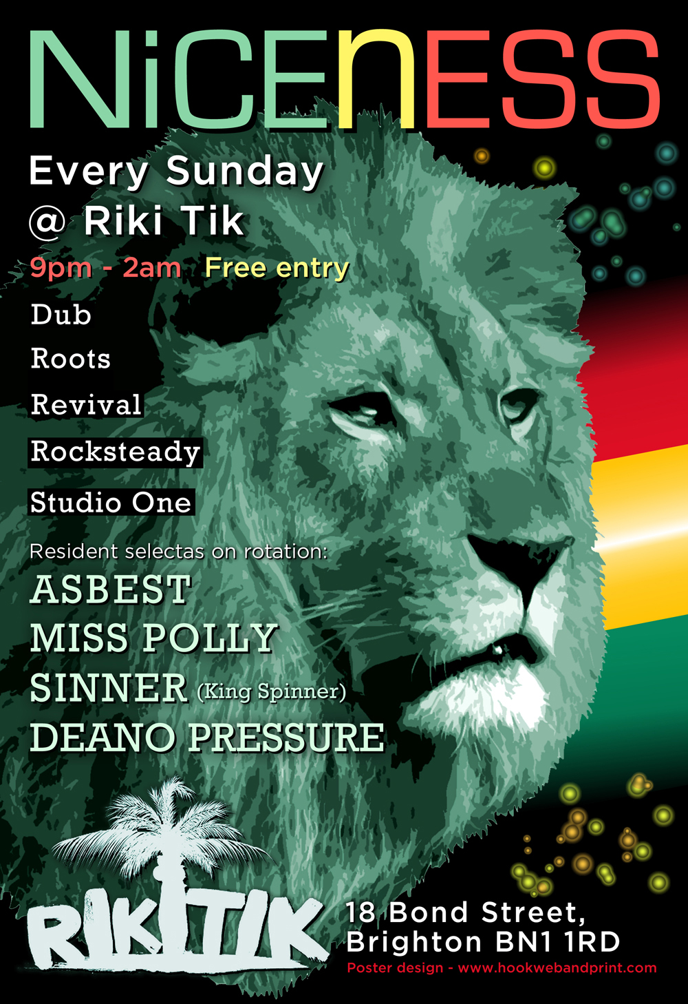 Niceness Reggae Crew poster designed by Hook Web & Print