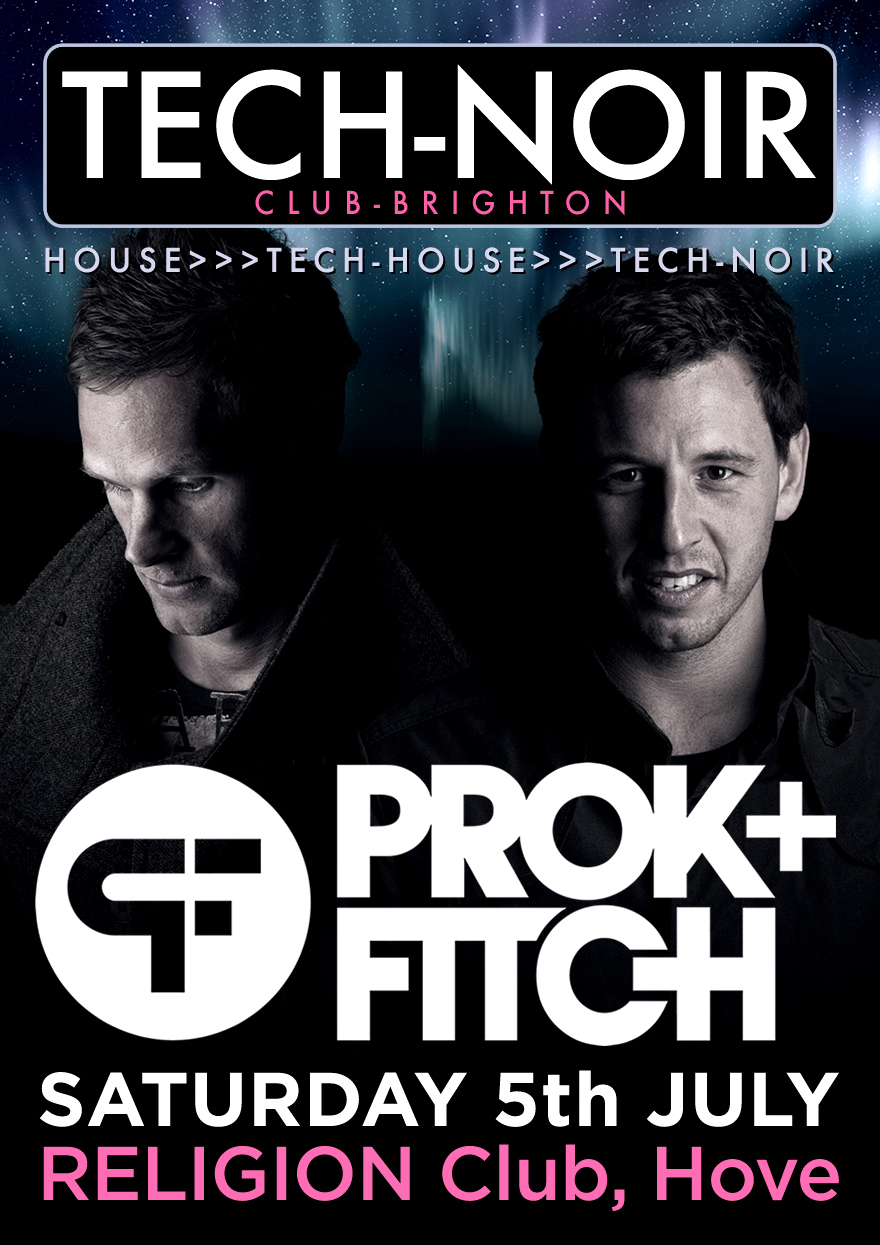 Tech-noir Club with Prok & Fitch flyer - designed by Hook Web & Print