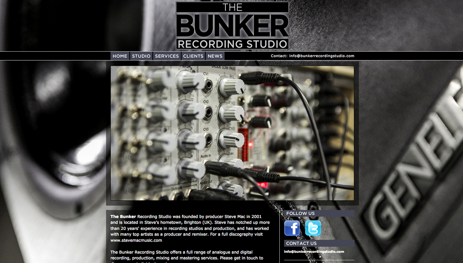 The Bunker Recording Studio website designed by Hook Web and Print