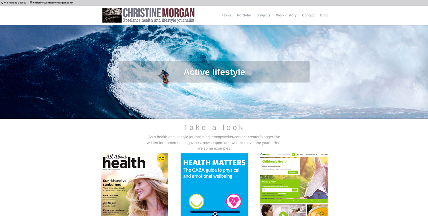 Christine Morgan journalist website - designed by Hook Web & Print