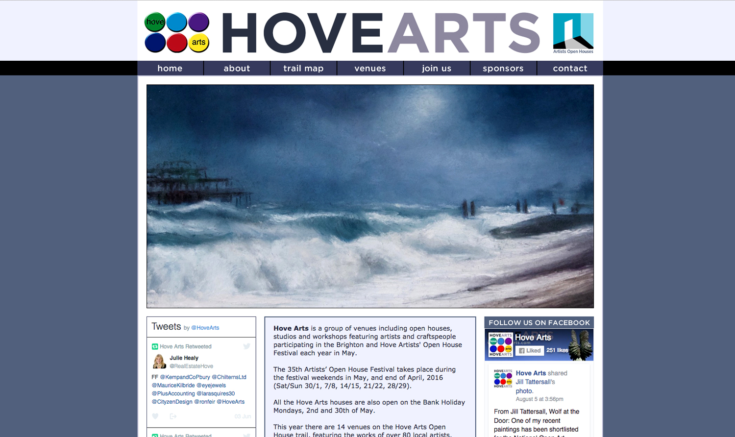 Hove Arts website designed by Hook Web & Print