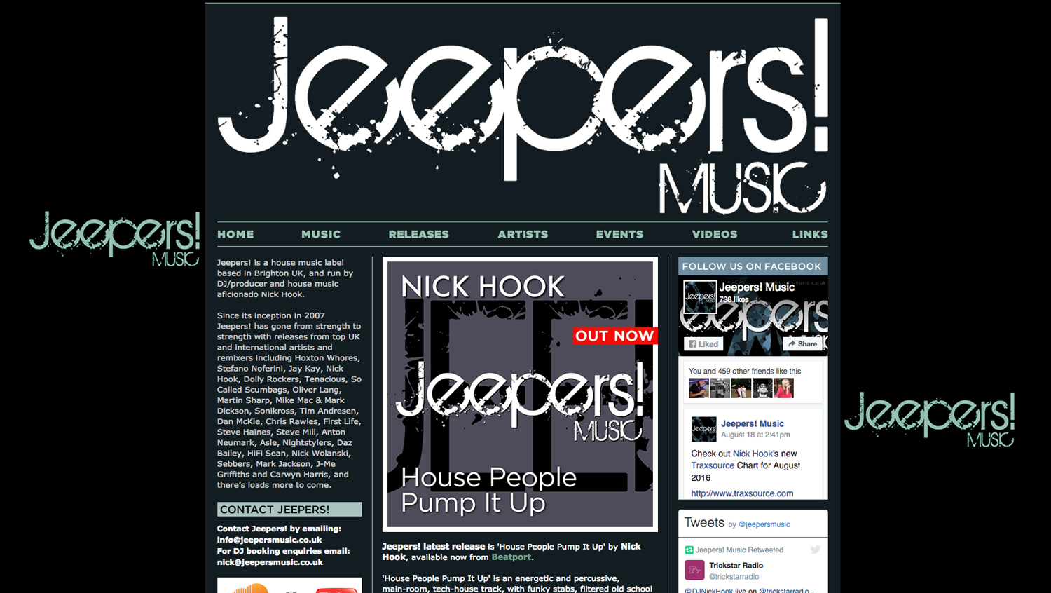 Jeepers! Music label website designed by Hook Web & Print