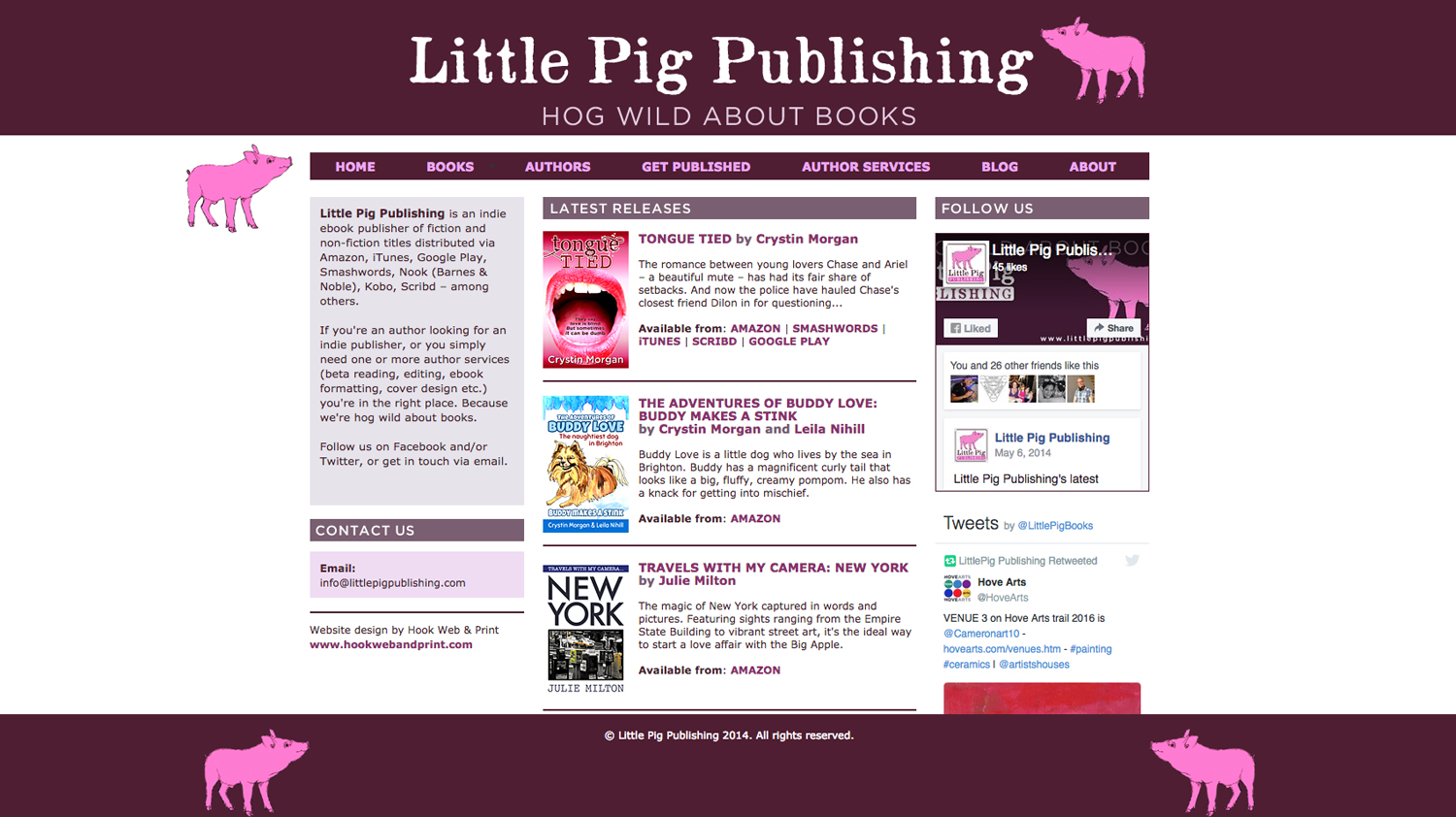Little Pig Publishing website - designed by Hook Web & Print