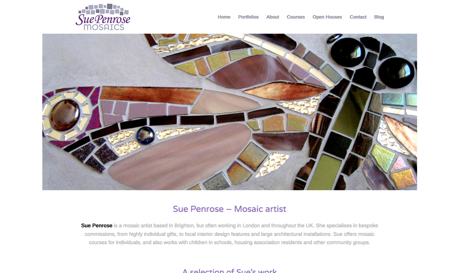Sue Penrose Mosaics website - designed by Hook Web & Print