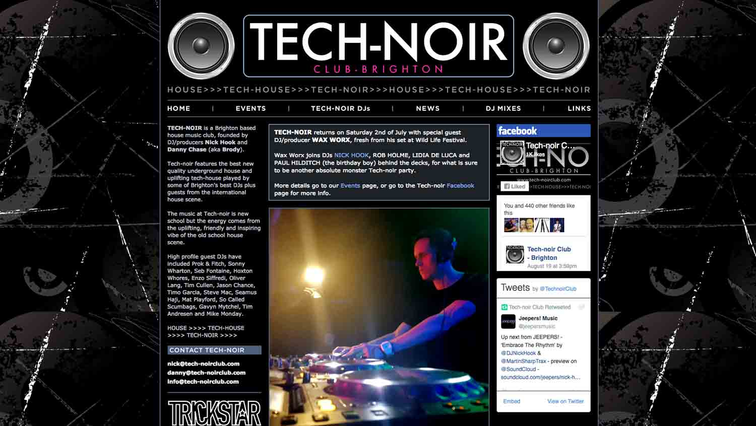 Tech-noir Club website - designed by Hook Web & Print
