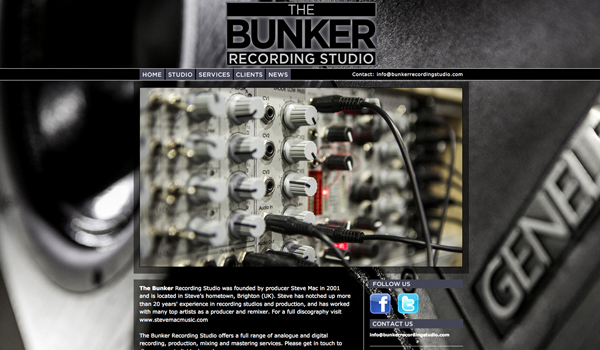 The Bunker Recording Studio website